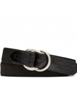 Black Suede Claf With Crocodile Tabs Belt | W.Kleinberg Belts Collection | Sam's Tailoring
