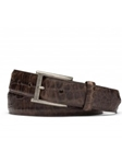 Chocolate Distressed Embossed Crocodile Belt | W.Kleinberg Belts Collection | Sam's Tailoring