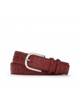 Red Quilled Ostrich With Antiqued Nickle Buckle Belt | W.Kleinberg Belts Collection | Sam's Tailoring