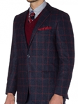 Navy Boucle with Crimson Windowpane Carmel Sport Coat | Robert Talbott Sports Coats  | Sams Tailoring Fine Men Clothing
