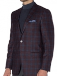Pinot Houndstooth with Navy and Sky Windowpane Carmel Sport Coat | Robert Talbott Sports Coats  | Sams Tailoring Fine Men Clothing