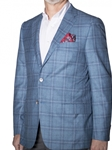 Aqua Blue with Denim Over-Check Carmel Sport Coat | Robert Talbott Sports Coats | Sams Tailoring Fine Men Clothing