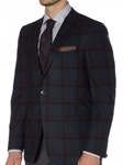 Dark Chocolate with Indigo Over-Check Carmel Sport Coat | Robert Talbott Sports Coats | Sams Tailoring Fine Men Clothing