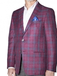 Garnet Linen Tweed with Indigo Over-Check Tehama Sport Coat | Robert Talbott Sports Coats | Sams Tailoring Fine Men Clothing