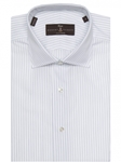 Navy and White Stripe Estate Sutter Tailored Dress Shirt | Robert Talbott Dress Shirts Collection | Sam's Tailoring Fine Men Clothing