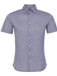 Navy Geometric Knit Short Sleeve Shirt | Stone Rose Men Shirts | Sams Tailoring Fine Men Clothing