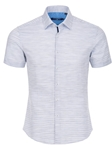 Blue Textured Mélange Short Sleeve Shirt | Stone Rose Men Shirts | Sams Tailoring Fine Men Clothing