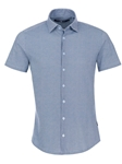 Blue Honeycomb Print Short Sleeve Knit Shirt | Stone Rose Men Shirts | Sams Tailoring Fine Men Clothing