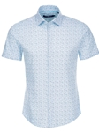 Blue Heather Print Knit Short Sleeve Shirt | Stone Rose Men Shirts | Sams Tailoring Fine Men Clothing