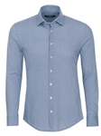 Blue Honeycomb Print Long Sleeve Knit Shirt | Stone Rose Men Shirts | Sams Tailoring Fine Men Clothing