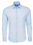 Blue Heather Print Knit Long Sleeve Shirt  | Stone Rose Men Shirts | Sams Tailoring Fine Men Clothing