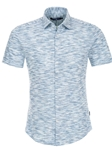 Blue Heather Knit Short Sleeve Shirt | Stone Rose Men Shirts | Sams Tailoring Fine Men Clothing