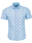 Turquoise Toucan Print Fil-Coupe Short Sleeve Shirt | Stone Rose Men Shirts | Sams Tailoring Fine Men Clothing