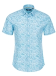 Blue Abstract Print Short Sleeve Shirt | Stone Rose Men Shirts | Sams Tailoring Fine Men Clothing