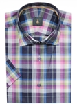 Multi Colored Plaid Crespi III Short SleeveSport Shirt | Sport Shirts Collection | Sams Tailoring Fine Men Clothing