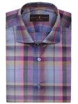 Purple, Blue & Grey Check Crespi IV Sport Shirt | Sport Shirts Collection | Sams Tailoring Fine Men Clothing