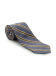 Blue Grey with Orange & Yellow Stripe RT Studio Tie | Robert Talbott Ties | Sam's Tailoring Fine Men Clothing