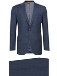 Slate Blue Plaid Fully Lined Traveler Suit | Hickey Freeman Men's Collection | Sam's Tailoring Fine Men Clothing