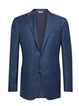 Dark Blue Check Notch Lapels Traveler Jacket | Hickey Freeman Men's Collection | Sam's Tailoring Fine Men Clothing