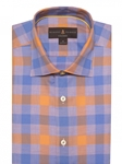Blue & Orange Check Crespi IV Tailored Sport Shirt | Sport Shirts Collection | Sams Tailoring Fine Men Clothing