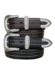 Coloma Contrast Stitching Bison Leather Belt | lejon Leather Belts collection | Sam's Tailoring Fine Men Clothing