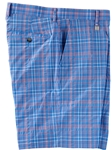 Cabana Blue Plaid Tech Flat Front Short | Bobby Jones Shorts Collection | Sams Tailoring Fine Men Clothing