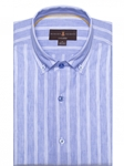 Blue and White Stripe Cannor Tailored Short Sleeve Sport Shirt | Robert Talbott Fall Sport Shirts Collection  | Sam's Tailoring Fine Men Clothing