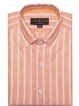 Orange and White Stripe Cannor Tailored Short Sleeve Sport Shirt | Robert Talbott Fall Sport Shirts Collection  | Sam's Tailoring Fine Men Clothing
