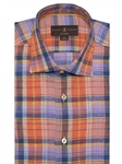 Orange and Blue Plaid Crespi IV Tailored Sport Shirt | Robert Talbott Fall Sport Shirts Collection  | Sam's Tailoring Fine Men Clothing