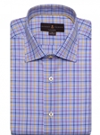 Blue and Orange Check Crespi IV Tailored Sport Shirt | Robert Talbott Fall Sport Shirts Collection  | Sam's Tailoring Fine Men Clothing