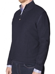 Robert Talbott Garment Dyed Pique Stitch Marino Wool Malibu-button Mock Sweater (Classic Fit) LS779-02 | Sam's Tailoring Fine Men's Clothing