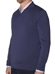 Robert Talbott Sea Island Cotton Marine Clifton-long Sleeve Polo Sweater (Classic Fit) LS778-02 | Sam's Tailoring Fine Men's Clothing