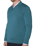 Robert Talbott Sea Island Cotton Teal Clifton-long Sleeve Polo Sweater (Classic Fit) LS778-06| Sam's Tailoring Fine Men's Clothing