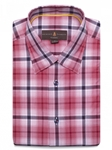 Robert Talbott Red and Navy Plaid Classic Fit Sports Shirt LUM28017-01|Sam's Tailoring Fine Men's Clothing