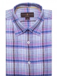 Robert Talbott Blue and Pink Plaid Classic Fit Sports Shirt LUM18039-01|Sam's Tailoring Fine Men's Clothing
