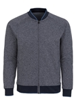 Stone Rose Navy Herringbone Wrinkle Resistant Knit Bomber T58227|Sam's Tailoring Fine Men's Clothing