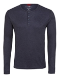 Stone Rose Navy Melange Wrinkle resistant Knit Henley T48221|Sam's Tailoring Fine Men's Clothing