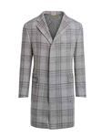 Light Grey Plaid Double Faced Fabric Wool Overcoat | Hickey Freeman OverCoat Collection | Sam's Tailoring Fine Men Clothing