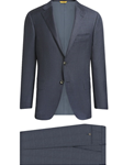 Slate Blue Glen Plaid Tasmanian Wool Fall Suit | Hickey Freeman Suit's Collection | Sam's Tailoring Fine Men Clothing