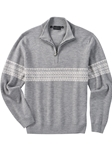 Heather Grey Fair Isle Wool Quarter Zip Pullover Sweater | Bobby Jones Sweaters Pullovers Collection | Sams Tailoring Fine Men Clothing