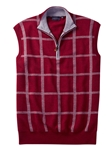 Cranberry Windowpane Quarter Zip Pullover Sweater Vest | Bobby Jones Sweaters Pullovers Collection | Sams Tailoring Fine Men Clothing