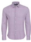 Pink Check Knit Long Sleeve Designer Dress Shirt | Stone Rose Shirts Collection | Sams Tailoring Fine Mens Clothing
