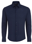 Navy Basketweave Knit Long Sleeve Button Up Shirt | Stone Rose Shirts Collection | Sams Tailoring Fine Mens Clothing