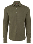 Green Brushed Heather Knit Long Sleeve T-Series Shirt | Stone Rose Shirts Collection | Sams Tailoring Fine Mens Clothing