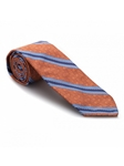 Orange Geometric Print with Blue Stripes 7 Fold Tie | Seven Fold Ties Collection | Sam's Tailoring Fine Men Clothing