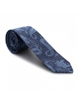 Navy & Light Blue Floral/Paisley Pattern 7 Fold Tie | Seven Fold Ties Collection | Sam's Tailoring Fine Men Clothing