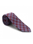 Ruby with Large Blue Medallion Pattern 7 Fold Tie | Seven Fold Ties Collection | Sam's Tailoring Fine Men Clothing