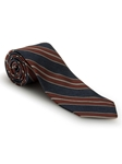 Navy, White & Brown Stripe Best of Class Tie | Best of Class Collection | Sam's Tailoring Fine Men's Clothing