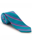 Teal, Blue & Pink Stripe Best of Class XL Tie | Robert Talbott XL Spring Collection | Sam's Tailoring Fine Men Clothing
