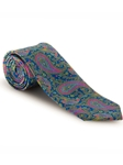 Green, Pink and Blue Paisley Best of Class XL Tie | Robert Talbott XL Spring Collection | Sam's Tailoring Fine Men Clothing
